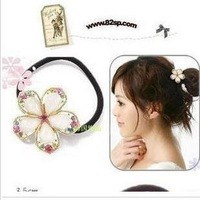 Fashion Korean Crystal Flower Elastic Hair Bands Hairwear 3pcs/Lot Z-S3012 Free Shipping