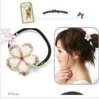 Fashion Korean Crystal Flower Elastic Hair Bands Hairwear A5R11