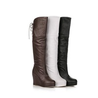 2013 New Sexy Black PU Strap Boots knee High boots Wedges Platform High heels Fashion womens snow boots SQM M-2