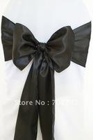 Free shipping -  black satin chair cover sash /satin sash
