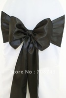 Free shipping -  black satin chair cover sash /satin sash