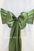 Free shipping -  clover green satin chair cover sash /satin sash
