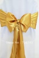 Free shipping -  gold satin chair cover sash /satin sash