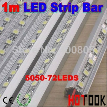 "Wholesale 1M 5050 72 LED 12V Rigid article lamp Strip Bar Light + "" V "" Style Aluminium Alloy Shell x 50m - ship via express(China (Mainland))"