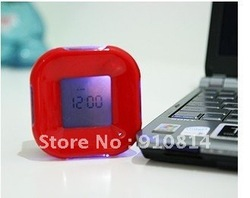 Free Shipping! Hot sale fashion metal good quality table online alarm clock led clock projector 5pcs/lot(China (Mainland))