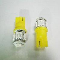 Wholesale Freeship Yellow T10 SMD5050 5 LED Car Light Interior Lamp Automobile Bulbs Car Wedge Indicator Light