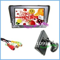 Free Shipping 2 CH 4.3'' Digital LCD Monitor with Suction Pad 4.3 inch TFT LCD Color Car Rearview Monitor