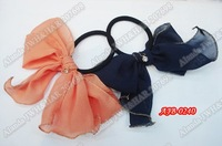 "12pcs/lot, 4.8"" solid spun gold chiffon bow elastic band ponytail holder AJB-0240, free shipping(pink, black, beige,orange)"
