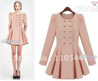 Star double breasted coat slim slim skirt sleeve windbreaker