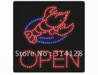 Seafood LED open sign 205LED (R:118pcs;B:24pcs) +Adapter+hanging chain 5PCS