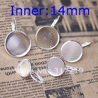 200pcs 14mm 925 Sterling Silver Plated Earring studs Hooks Cameo,Brass stud earrings accessories,earrings base setting Blank