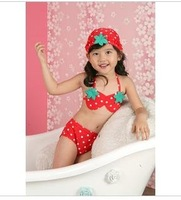 Free Shipping WHOLESALE children swimwear, girl bikini swimwear,strawberry swimsuit,5pcs/lot