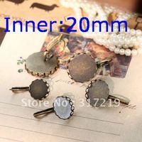 100pcs 20mm Antique Bronze Earring Lace studs Hooks Cameo,Brass stud earrings accessories,earrings base setting Blank