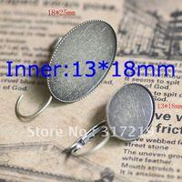 200pcs 13*18mm Antique Bronze Earring Oval studs Hooks Cameo,Brass stud earrings accessories,earrings base setting Blank