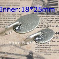 200pcs 18*25mm Antique Bronze Earring Oval studs Hooks Cameo,Brass stud earrings accessories,earrings base setting Blank