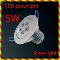 Free ship + wholesale 10Pcs  x 5W LED Down light pure white color 400-450lm AC85-265V  High power led down light 10pcs/lot