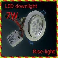 Free ship + wholesale 10Pcs  x 7W LED Down light pure white color 580-650lm AC85-265V  High power led down light 10pcs/lot