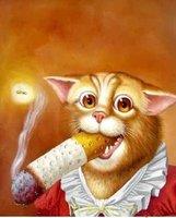 Colors home decor 100% handpainted Modern art Oil paintings  - smoking cat