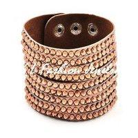 Fashion wrap cuff leather crystal brown bracelet for women Free Shipping,10pcs/lot,GL051605 B2_173