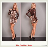FREE SHIPPING 2013 New Fashion Ladies' Leopard Long Sleeves Lace Dress Sexy Women Dress Free size NA2458