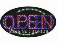 Oval LED open sign(HSO0061) 248LED (R:91pcs;G:14pcs;B:129pcs;Y:14pcs) +Adapter+hanging chain 5PCS