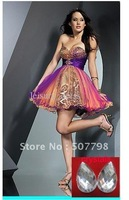 Custom made--- Sheath Sweetheart beaded a-line above knee length short cooktail dress hot sales special ocassion gown