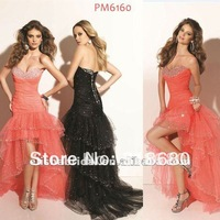 Coral Color Beaded Sweetheart Dropped Waist Layered Sparkle Prom Dress