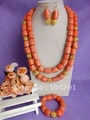 Free ship!!!Ladies' Shiny Pink Color Druml-shaped bead Double Strand Flower Strand African Wedding Coral Fashion Jewelry Set
