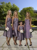2013 New Arrival ! Free Shipping!sweet neckline flowers pleated asymmentric mid-calf pleated  custom-made bridesmaid dress