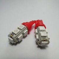 Pair Red T10 SMD 5050 9 LED Bright Car Light Interior Automobile Bulbs Wedge Indicator Lamp DC12V Free shipping
