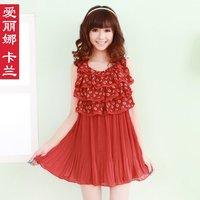 Free Shipping 2012 chiffon one-piece dress summer sleeveless ruffle one-piece dress