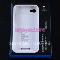 1900mAh External Rechargeable Backup Battery Charger Case Cover For iphone 4 4S