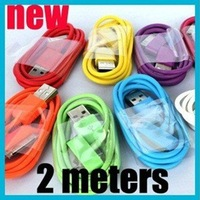 SG Market Cheapest 2M 10 Color USB Cable for For iPhone 4s, 2M USB data Cable, 2M USB Cable for ipone 4s,Cute USB data line