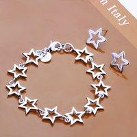 SS035 Silver Plated Star Chain Bracelet Stud Beads Earrings Fashion Jewelry Sets Jewellery Set
