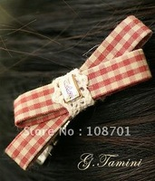 New ponytail clip arrival-Korean style cotton flower print bowknot hair clip banana hair barrettes fashion hair accessories