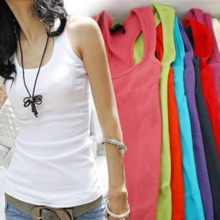 All-match women's 100% cotton thread long design candy color tank basic shirt