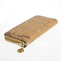 FREE SHIPPING counter genuine vintage wolrd map medium style zipper fashion women wallet