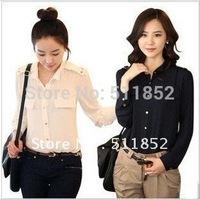 Free shipping  New style spring clothing Occupational temperament women's dress chiffon shirt shirts N2FA-19A 9101#