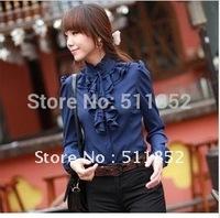 New style spring clothing Occupational temperament women's dress chiffon women long shirt shirts d506-a 8002#