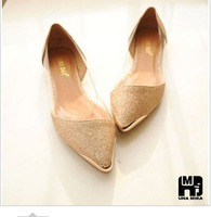 Free shipping 2012 hot seller in chinese 2 colours beautiful pointed flat women's sandals