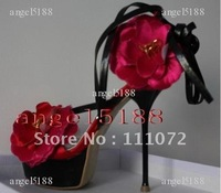 2012 new style Free shipping with flower Women's high heel pumps shoes sandals