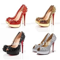 Wholesale sexy strass pot pourri crystals spikes platforms evening special occasion womens shoes Rivets Sandals