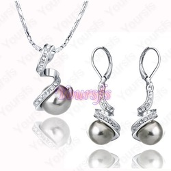 Hot Sale Free Shipping 18K White Gold Plated Jewelry Crystal 18K GP Black Pearl Pendant Necklace / Earring Sets S003W2(China (Mainland))