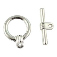 60Sets Silver Plate circle toggle clasps A1191SP