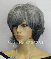 Synthetic wig medium wig synthetic hair wig Classic Loose Waved Wig Grey Gray Stacked (Free Shipping)