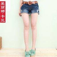 Free Shipping 2012 women's summer multicolour denim shorts female moben hole denim shorts