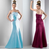 2013 New Arrival! Free Shipping!satin sheath flowers custom-made Bridesmaid Dresses