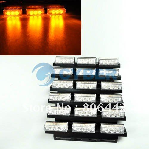 Free Shipping 54 LED Truck Strobe Car Lights 3 Mode Amber bars for Deck Dash Grille(China (Mainland))