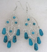 E70.Tibet silver Turquoise Earrings.  Different Style 3 pair / Lot .Free choice. Free shipping. Provide tracking number.