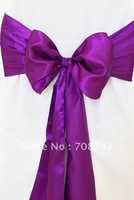 Free shipping -  purple satin chair cover sash /satin sash